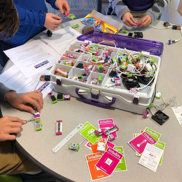 Students exploring circuitry with littleBits.