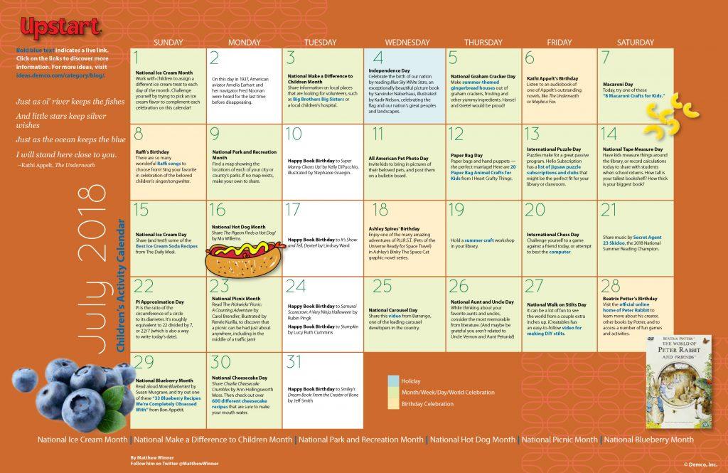 Children's Activity Calendar: July 2018