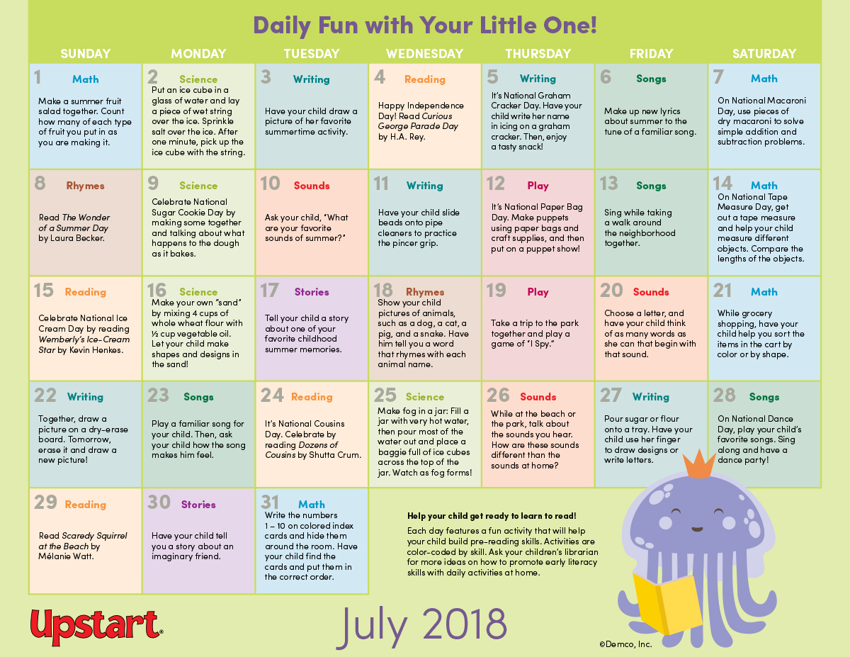 Early Literacy Activity Calendar: July 2018. Keep kids learning this July!