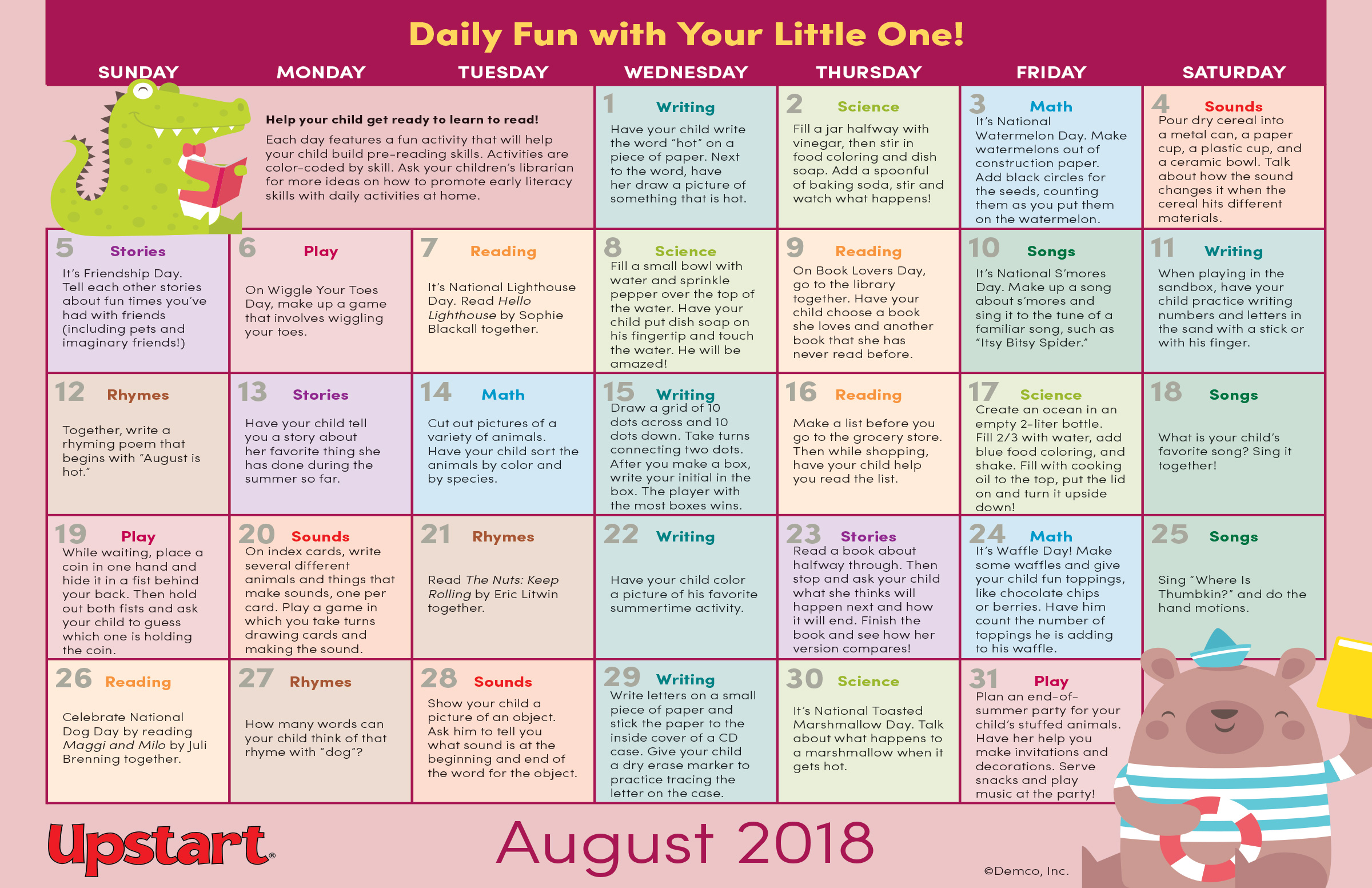 Early Literacy Activities Calendar: August 2018