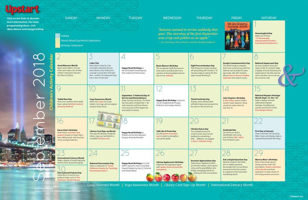 Children's Activity Calendar: September 2018