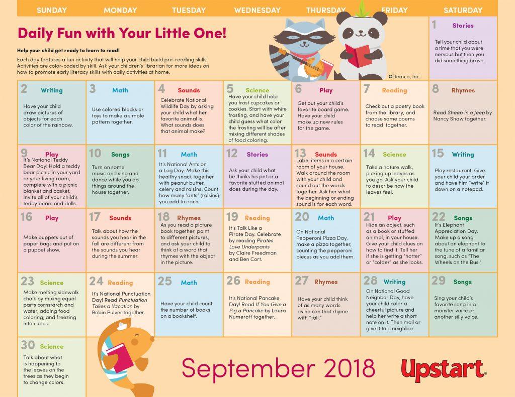 Early Literacy Activity Calendar: September 2018