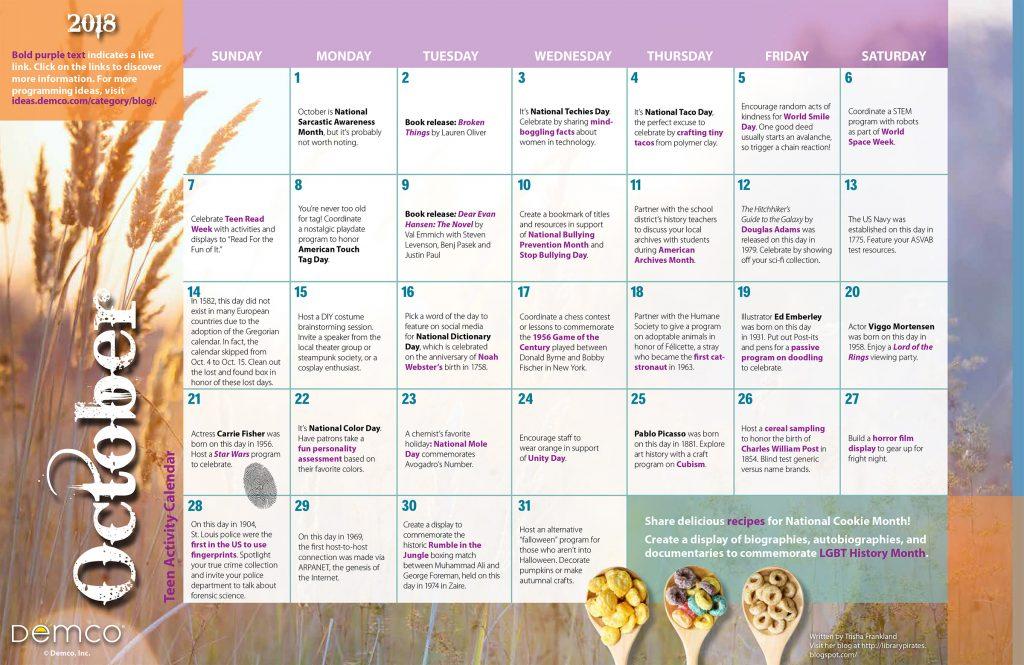 Teen Activity Calendar: October 2018