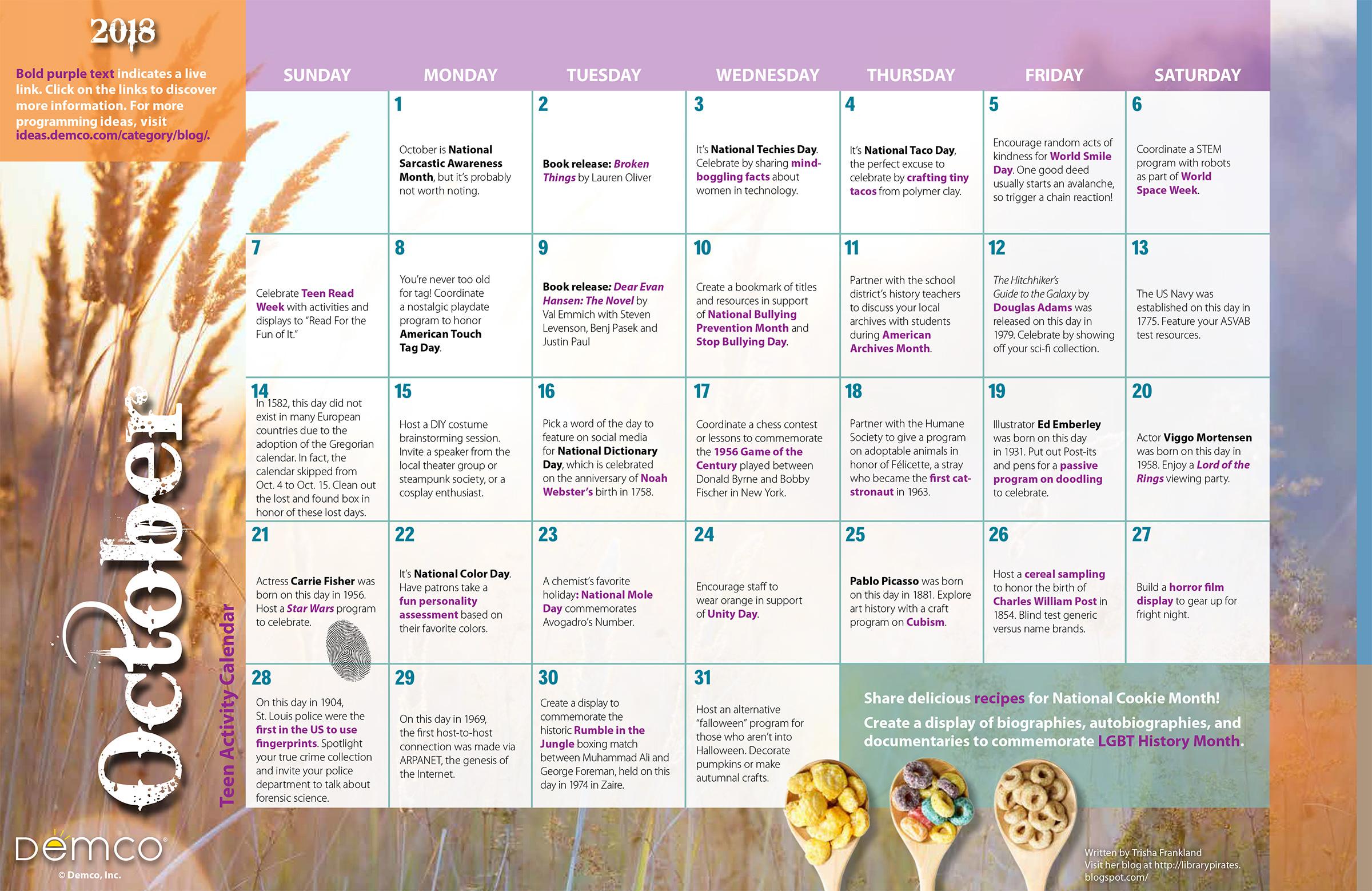 teen activity calendar october 2018