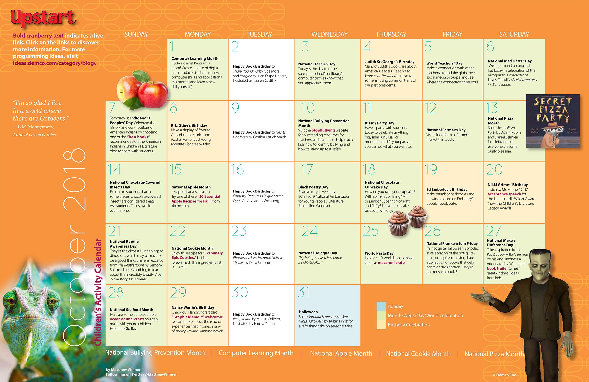 childrens activity calendar october