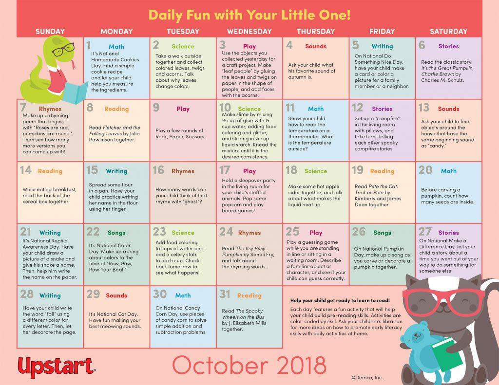 Early Literacy Activities Calendar October 2018