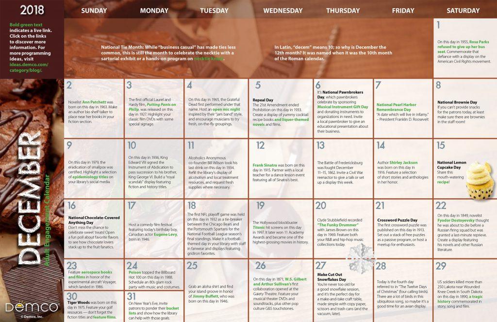 Adult Activity Calendar: December 2018
