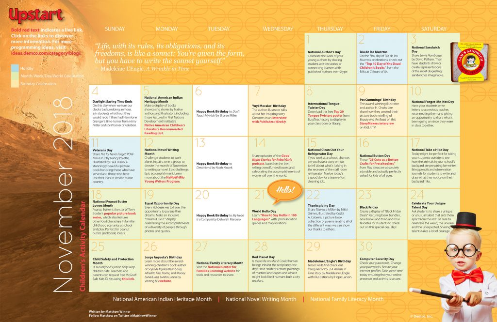 Children's Activity Calendar: November 2018