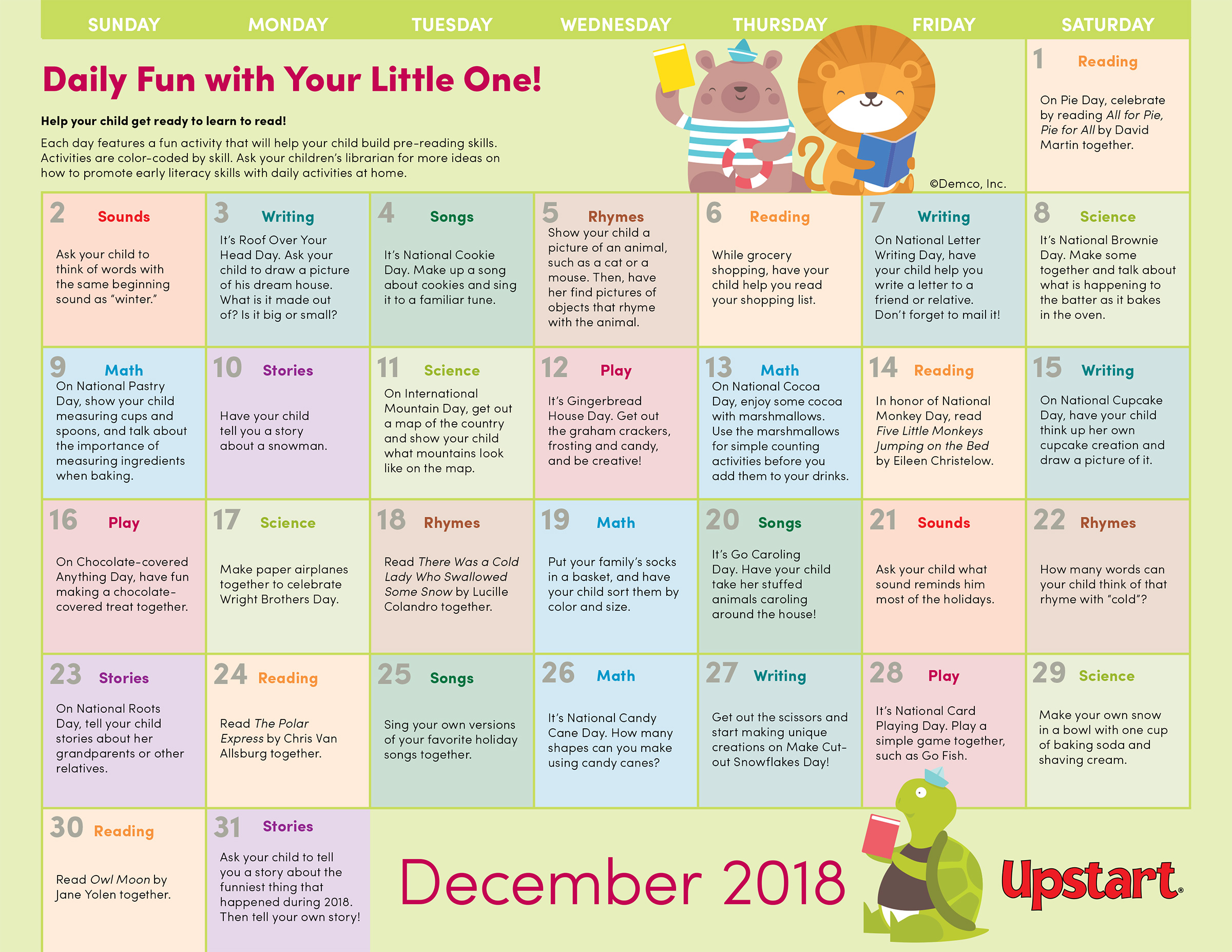 Kindergarten Calendar For Parents : Early literacy activities calendar december