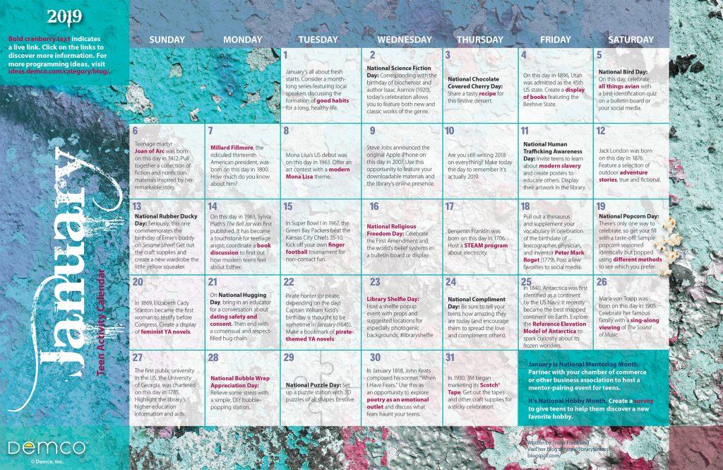 Teen Activity Calendar: January 2019