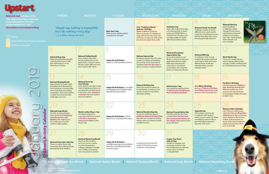 January 2019 children's library activities calendar