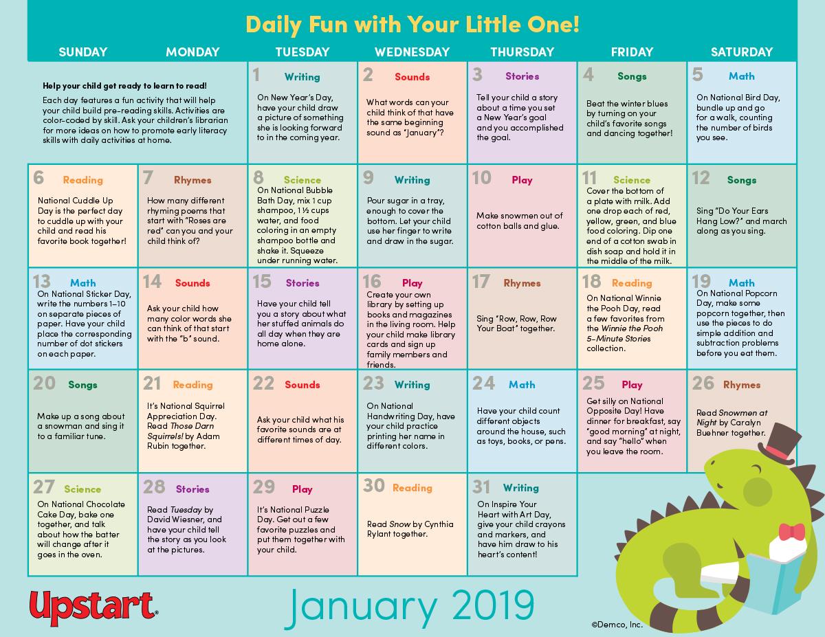 Early Literacy Activities Calendar January 2019