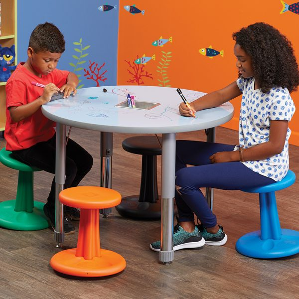 Kore™ Antimicrobial Kids Wobble Stools offers flexible seating in an elementary classroom setting