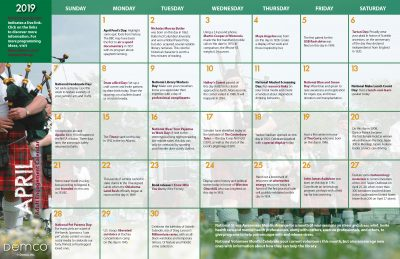 Adult Activity Calendar: April 2019