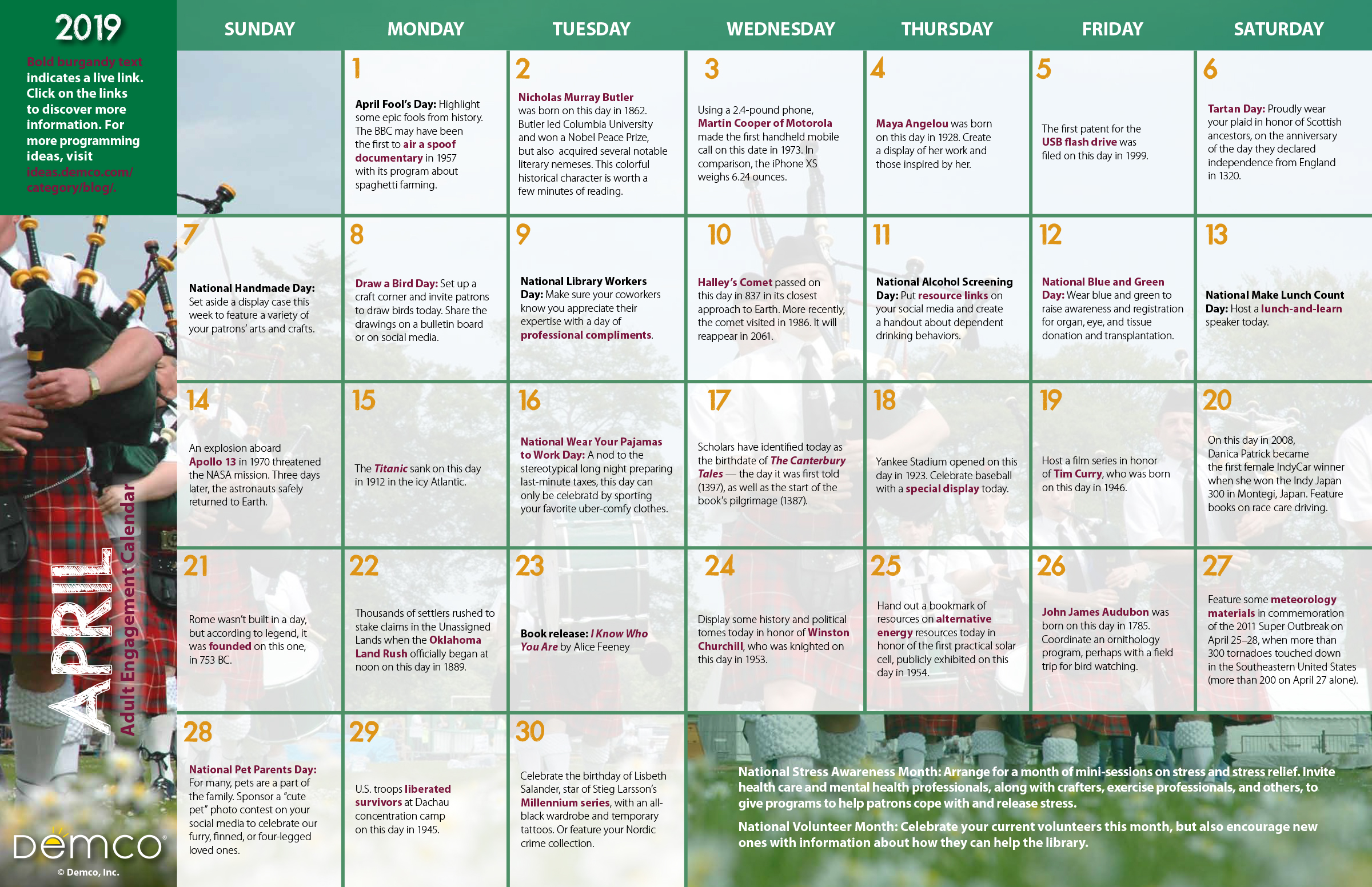adult programming ideas calendar for your library  april 2019