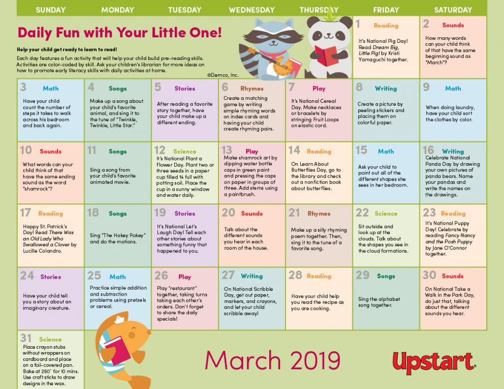 Early Literacy Activities Calendar March 2019